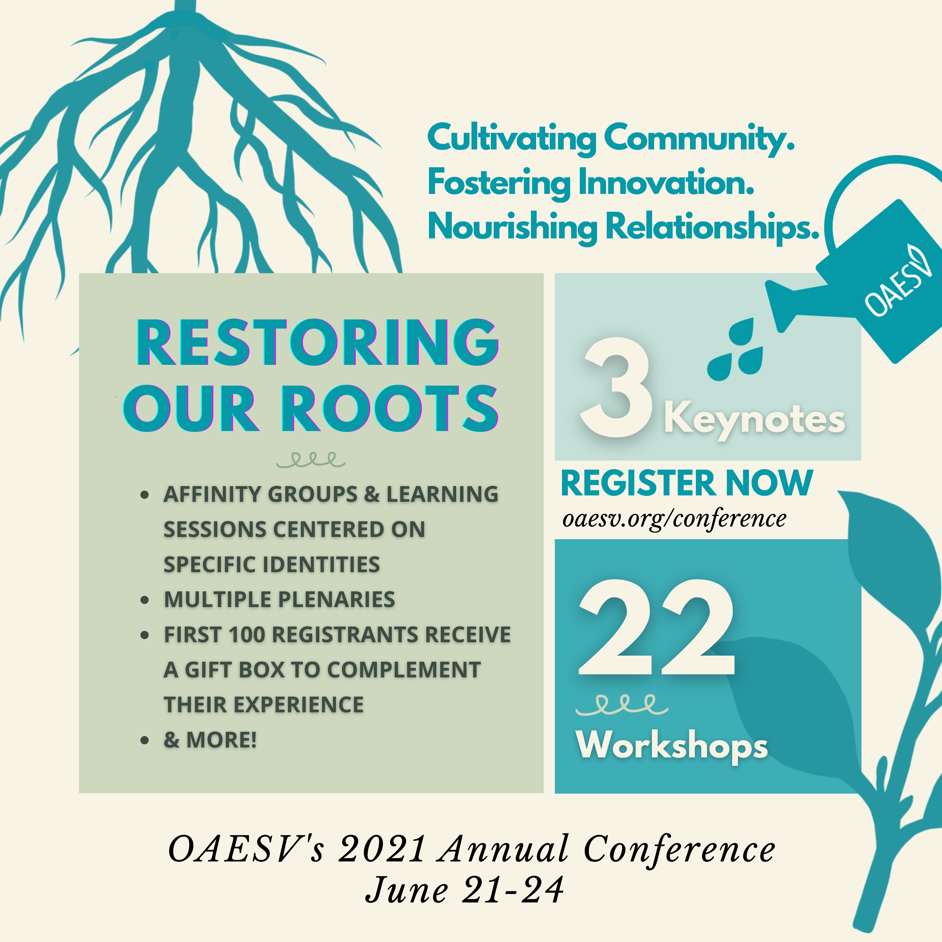 Registration Includes: 3 Keynotes, 22 Workshops, Affinity Groups & Learning Sessions Centered on Specific Identities Multiple plenaries First 100 registrants receive a gift box to complement their experience & more!